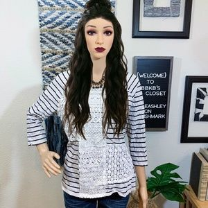 Style & Co Striped Lace Blouse